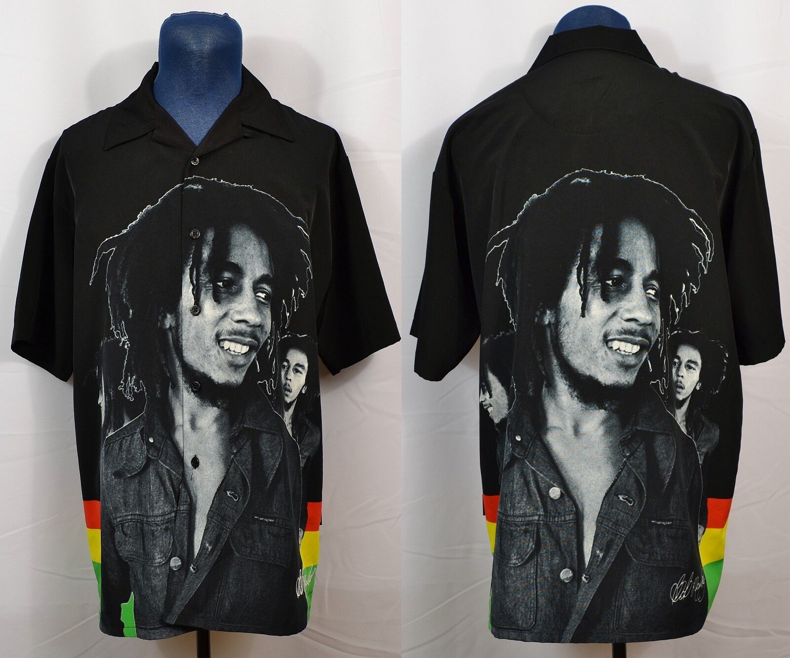 Dragonfly Bob Marley Button-Front Portrait Shirt Up Down Camp Bowling Men's L