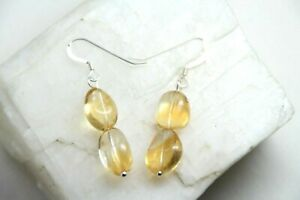 Citrine-Gemstone-Free-Form-925-Sterling-Silver-Golden-Yellow-Earrings-1-1-2-034