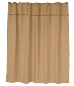 Burlap Natural Shower Curtain Primitive Beige Brown Tan