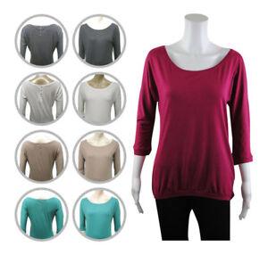 Womens-Bershka-Scoop-Neck-T-Shirt-Top-3-4-Sleeve-Size-10-to-14-Ladies