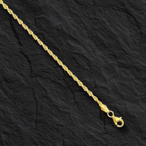 "10k Solid Yellow Gold Diamond Cut Rope Chain Bracelet 7/"" 2 mm 1.5 grams 014RR"