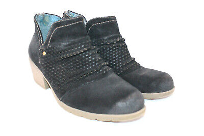 Earth Origins Black Suede Perforated Ruched Amanda Ankle Boot Booties New