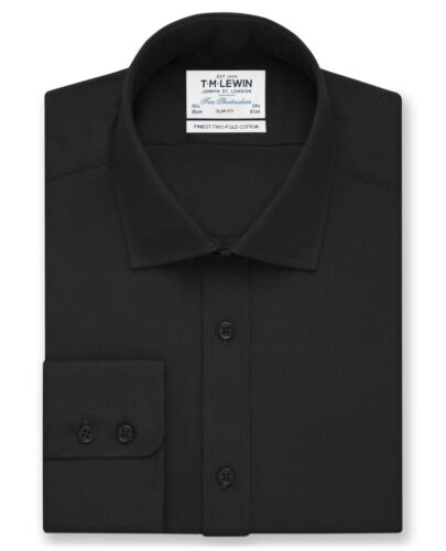 T.M.Lewin Mens Black Poplin Slim Fit Button Cuff Shirt