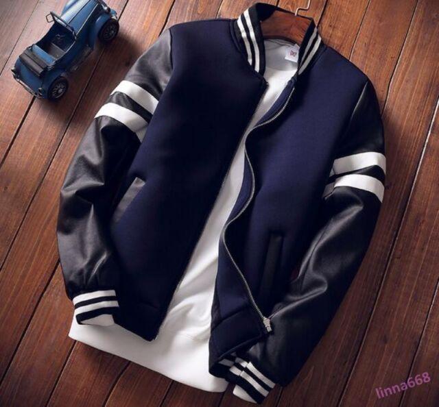 Mens Strand Collar Zip Up Casual Baseball Jacket Slim Fit Spring Coat Size M-8XL