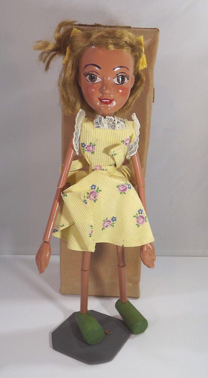 Boxed Vintage 1940s 50s Pelham Puppets Bendy Bendipup Girl Type SL Display Piece