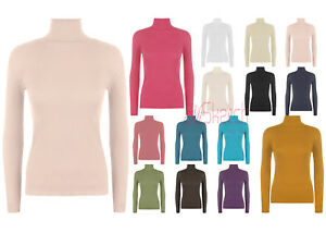 Femmes-Encolure-Polo-cotelee-Neuf-Tortue-Col-Roule-Manches-Longues-Uni-Top