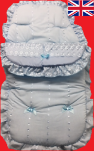 NEW– FRILLY BRODERIE FOOTMUFF Blue COSY TOES FIT NEWBORN//BABY PUSHCHAIR Pram