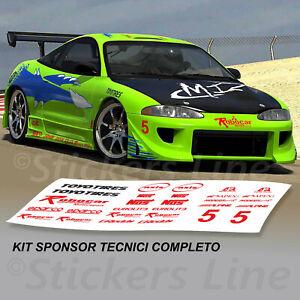Adesivi-kit-sponsor-tecnici-FAST-AND-FURIOUS-scritte-MITSUBISHI-ECLIPSE-VERDE
