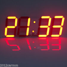 Large 3D Modern Digital Display LED Wall Alarm Countdown Clock 12/24 Hour Timer