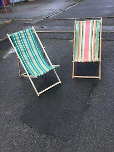 2 Paire Vintage Original Seaside Rayée Chaises Longues Plage Scène Prop Shop-afficher Le Titre D'origine Sang Nourrissant Et Esprit RéGulateur