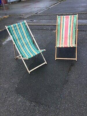 2 Doppia Coppia Vintage Originale Mare A Righe Sedie A Sdraio Spiaggia Stadio Prop Shop- Forma Elegante