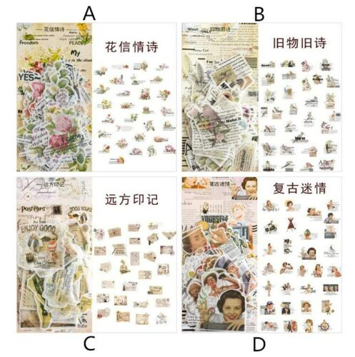 60pcs//pack Retro English Love Poems Label Stickers Diary Scrapbooking Stickers