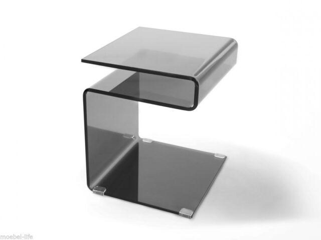 Susy Beistelltisch Couchtisch Schwarzer Glastisch Tisch Wohnzimmertisch 42x38 Cm