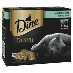 Dine Desire Tuna Whitemeat Grain Free Wet Cat Food Can 85g 6pk