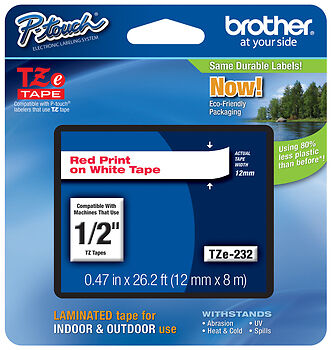 "Brother 1//2/"" White on Clear P-touch Tape for PT7100 PT-7100 Label Maker 12mm"
