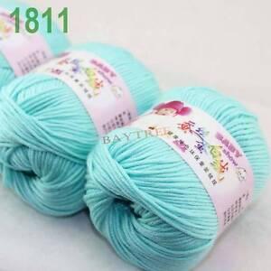 SALE-3-balls-x50gr-Cashmere-Silk-velvet-Hand-Knitting-baby-Yarn-Light-Cyan-1811