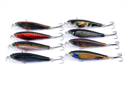 8pcs Lot Paint Wobbler Minnow Fishing Lures Bass Bait Hard Lure Tackle 7.5cm//8g