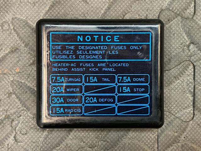 Toyota Aw11 Mr2 Dash Fuse Box Block Cover Panel Diagram