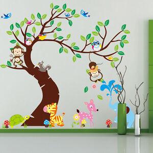Wandtattoo Wandsticker Tiere Wald Baum Spielzimmer Affe Kinderzimmer ...