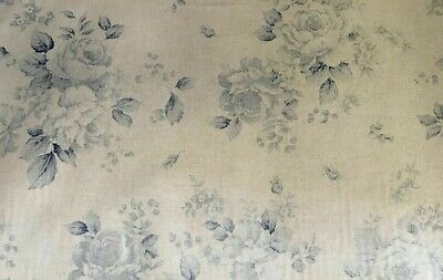 """French /""""Faded Roses/"""" Floral Linen Fabric in Blue Double Width 280cm Wide"""