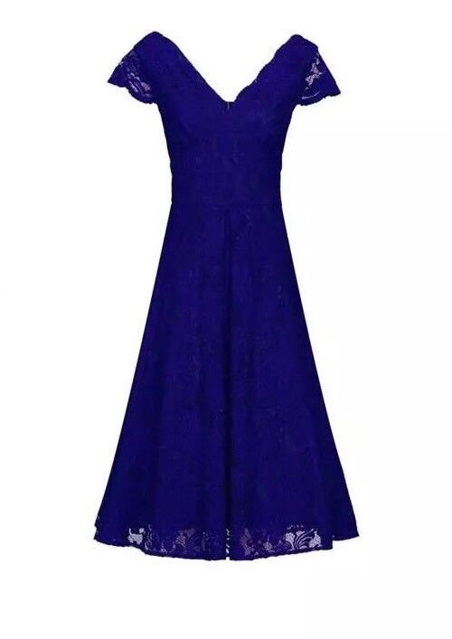 Jolie Moi Cap Sleeve Fit & Flare Lace Dr Royal bluee Size 14 RRP