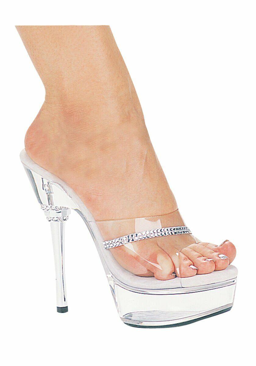 6 Inch Rhinestone Heel Mule Women's Size shoes With Rhinestone Detail On Toe
