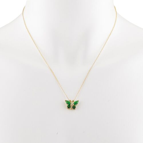 14Kt Yellow Gold Plated Emerald Butterfly Pendant