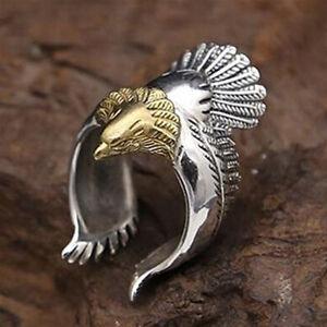UK-Unique-Flying-Eagle-Biker-Ring-Cool-Punk-Men-039-s-Animal-Open-Ring-Jewelry-Prec