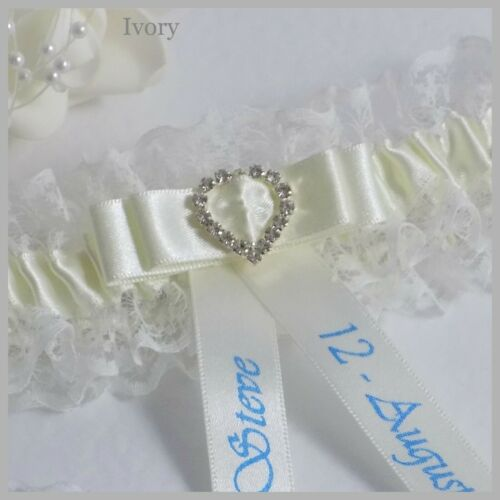Personalised Bridal Garter Ivory//White lace with satin /& diamante heart buckle.