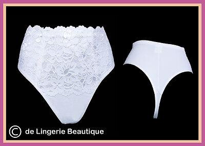 Ladies High Waist White Lace Medium Control Shapewear Slimming Thong 10-20