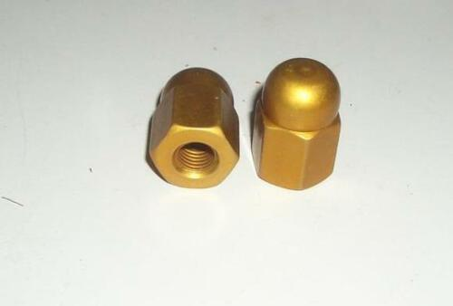 2 NOS Old School BMX Bike Gold Anodized Front Hub Small Axle Nuts