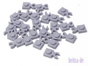 LEGO-25-x-Platte-1x1-hellgrau-mit-O-Clip-waagerecht-4085d-NEUWARE