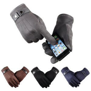 New-Men-Winter-Suede-Leather-Fleece-Lined-Thermal-Touch-Screen-Driving-Gloves-BK