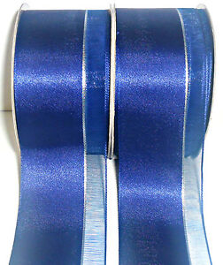 Raso-amp-PURA-CINTA-CON-LUREX-Plateado-Raya-38mm-Azul-Cobalto-5Mtrs-Arte-54362
