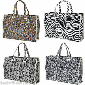 Image Is Loading Large Zip Ping Beach Bag Leopard Print Animal