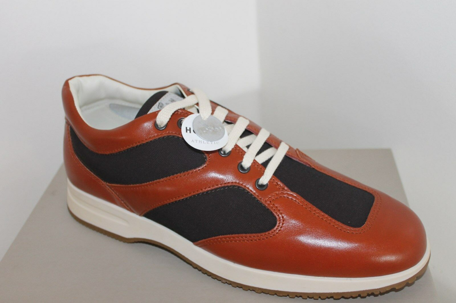 hogan mens trainers sneakers shoes brown tan leather