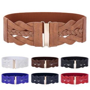Women-039-s-Wide-Braided-PU-Leather-Floral-Hook-Stretch-Elastic-Waist-Belt-Waistband