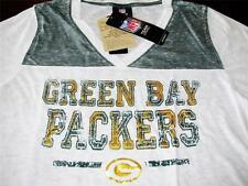 GREEN BAY PACKERS OFFICIAL NFL WOMENS WHITE T-SHIRT V-NECK BURNOUT TEE SZ L  NWT