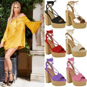 58d4abf662a Image is loading Womens-Ladies-High-Block-Heel-Platform-Summer-Espadrilles-