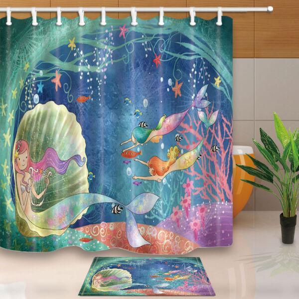 Cartoon Mermaid Shower Curtain Bedroom Decor Waterproof Fabric U0026 12 Hooks  ...