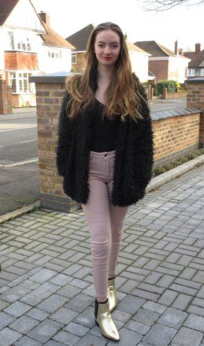 Pistachio Women/'s Girls Teddy Bear Faux Fur Shaggy Coat Jacket Boho Fluffy.