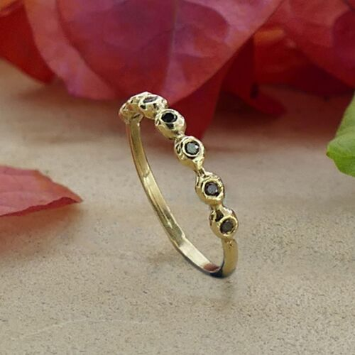 Stackable Solid 9k Yellow Gold 0.56 Carat Natural Round Black Diamond Ring Size