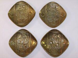 4 Cendriers Bronze Joueurs De Cartes Signés Max Le Verrier 1891-1973