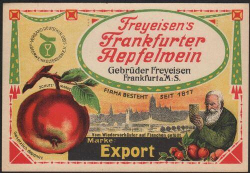 von ca.1930 # 1710 Apfelwein Etikett apple cider label etiquette de cidre