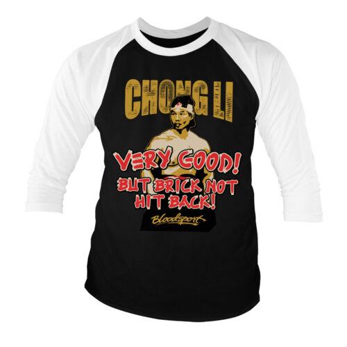 Licence Officielle Bloodsport-Chong Li 3//4 Manche T-shirt De Baseball S-XXL tailles