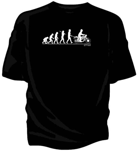 Evolution of Man, Suzuki GT750 classic motorcycle t-shirt.