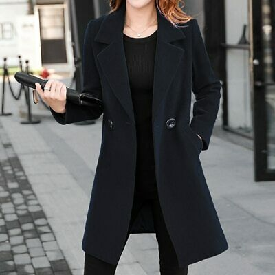 Chic Ladies Full-Length Trench Coat Wool Blend Lapel Jackets Parka Fit Long size