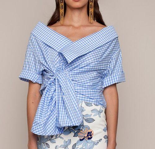 Cotton Shirt Wrap Ortiz Gingham Daffodil Top Around Johanna Blouse 5Fx8qn8