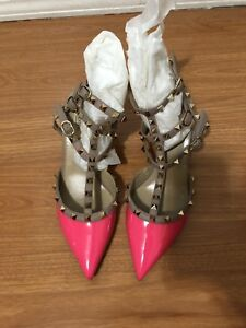 75528867cb9f Image is loading Valentino-Rockstud-Women-Bright-Pink-Leather-Pump-Shoes-