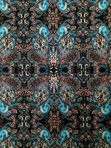 Big Geo Damask Pattern on Stretch ITY Knit Jersey Polyester Spandex Fabric